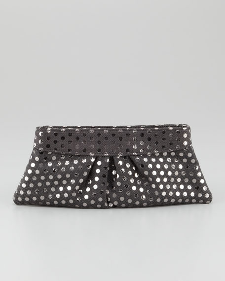 Eve Metallic-Dotted Clutch Bag, Charcoal