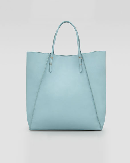 Papier Leather Basket Tote Bag, Blue Azur