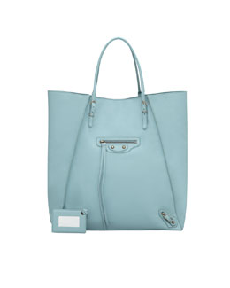 Balenciaga Papier Leather Basket Tote Bag, Blue Azur