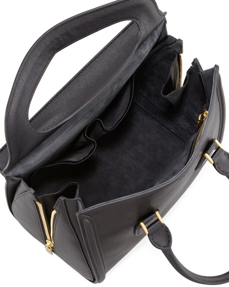 Heroine Leather Satchel Bag, Black