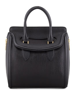 Alexander McQueen Heroine Medium Leather Satchel Bag, Black