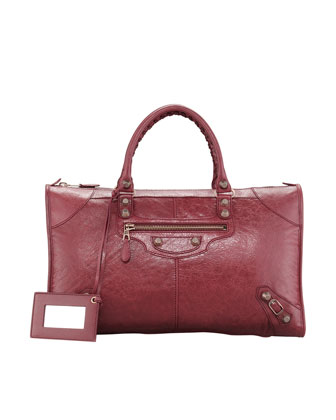 Giant 12 Rose Golden Work Bag, Cassis Bordeaux