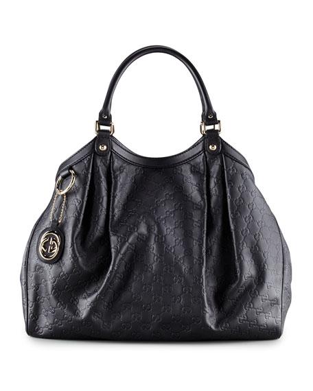 Sukey Large Guccissima Tote Bag, Black