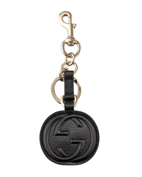 Interlocking GG Leather Key Ring
