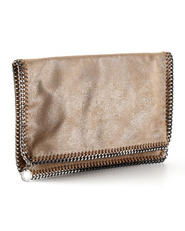 Stella McCartney Falabella Fold-Over Clutch Bag, Redwood