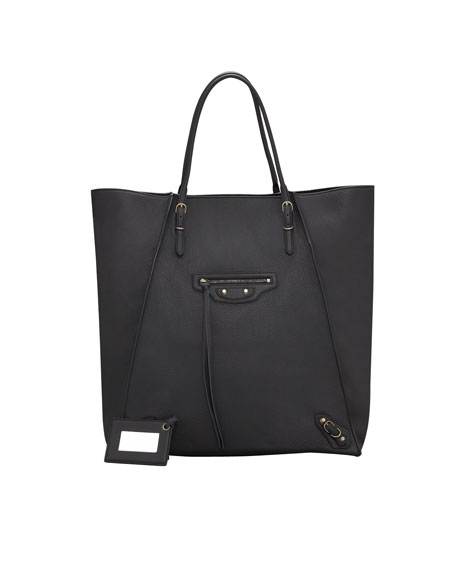 Papier Leather Basket Tote Bag, Black