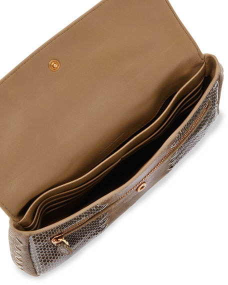 Snakeskin Tri-Fold Envelope Clutch Bag, Bronze/Gray
