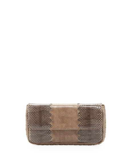 Snakeskin Tri-Fold Envelope Clutch Bag, Bronze/Gray