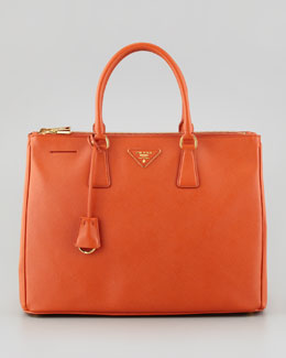 Prada Saffiano Lux Medium Executive Tote Bag, Orange