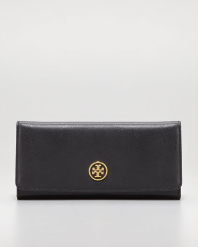 Tory Burch Robinson Continental Envelope Wallet, Black