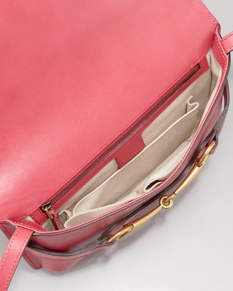 Bright Bit Leather Shoulder Bag, Shock Pink