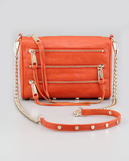Rebecca Minkoff Five-Zip Mini Crossbody Bag, Tangelo