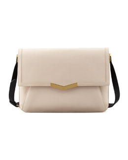 Time's Arrow Affine Calfskin Shoulder Bag, Bone