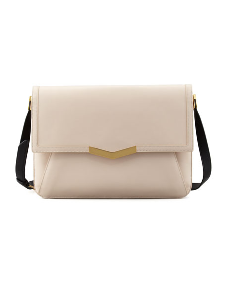 Affine Calfskin Shoulder Bag, Bone