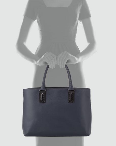 Intrecciato-Trim Stamped Tote Bag, Navy/Black