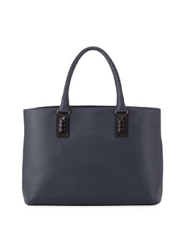 Bottega Veneta Intrecciato-Trim Stamped Tote Bag, Navy/Black