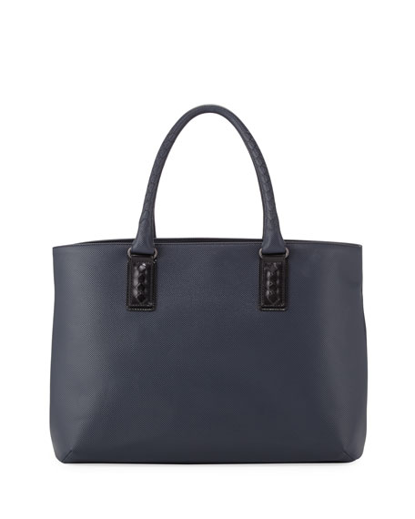 Intrecciato-Trim Stamped Tote Bag, Navy/Black