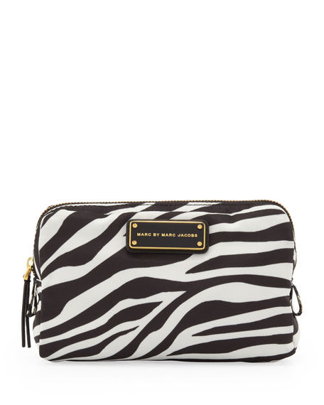 Zebra Tech Fabric Cosmetic Case, Black/White