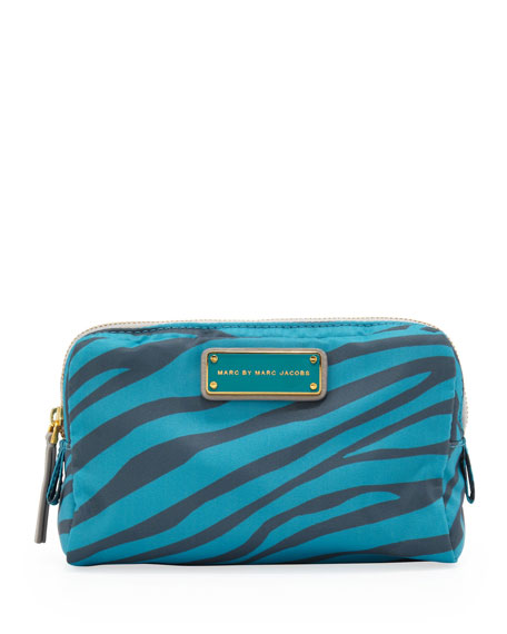 Zebra Tech Fabric Cosmetic Case, Gray/Teal