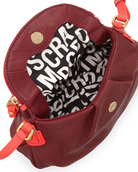 Natasha Mini Two-Tone Crossbody Bag, Cabernet Red