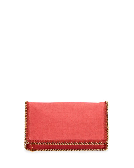 Falabella Linen Fold-Over Clutch Bag, Lipstick