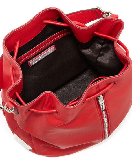 Cynnie Leather Drawstring Backpack, Red Joy