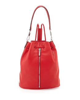 Elizabeth and James Cynnie Leather Drawstring Backpack, Red Joy