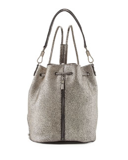 Elizabeth and James Cynnie Leather Drawstring Backpack, Gunmetal