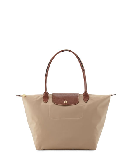 Longchamp Le Pliage Large Shoulder Tote Bag, Beige