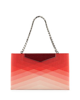 Fendi Small Framed Leather Clutch Bag, Red/Pale Pink