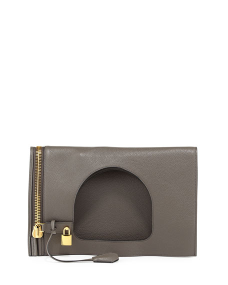 TOM FORD Alix Small Calfskin Hobo Bag, Graphite