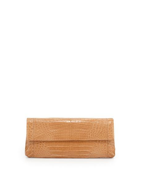 Back-Pocket Crocodile Clutch Bag, Beige