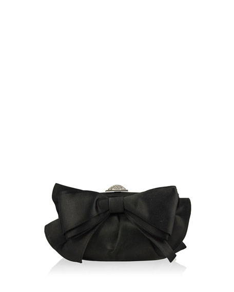 Madison Satin Bow Clutch Bag, Silver/Black