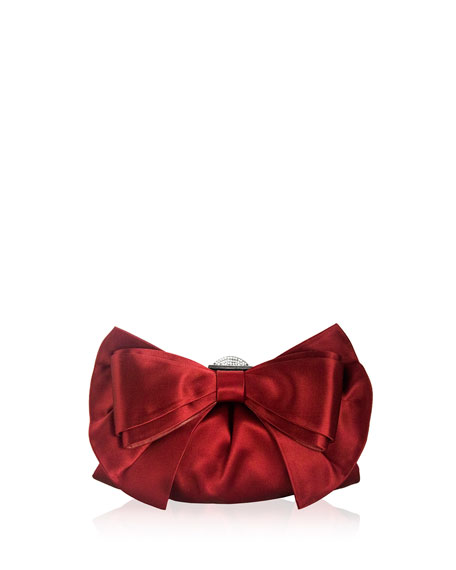 Madison Satin Bow Clutch Bag, Silver/Crimson
