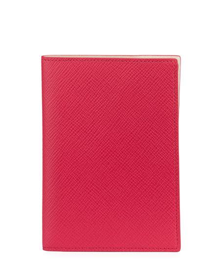 Smythson Panama Leather Passport Cover, Fuchsia
