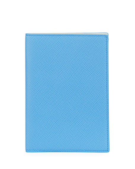 Smythson Panama Leather Passport Cover, Blue Nile