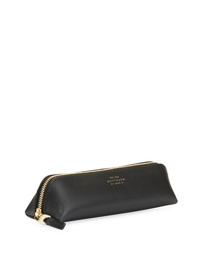 Saffiano Leather Zip-Around Pencil Case, Black