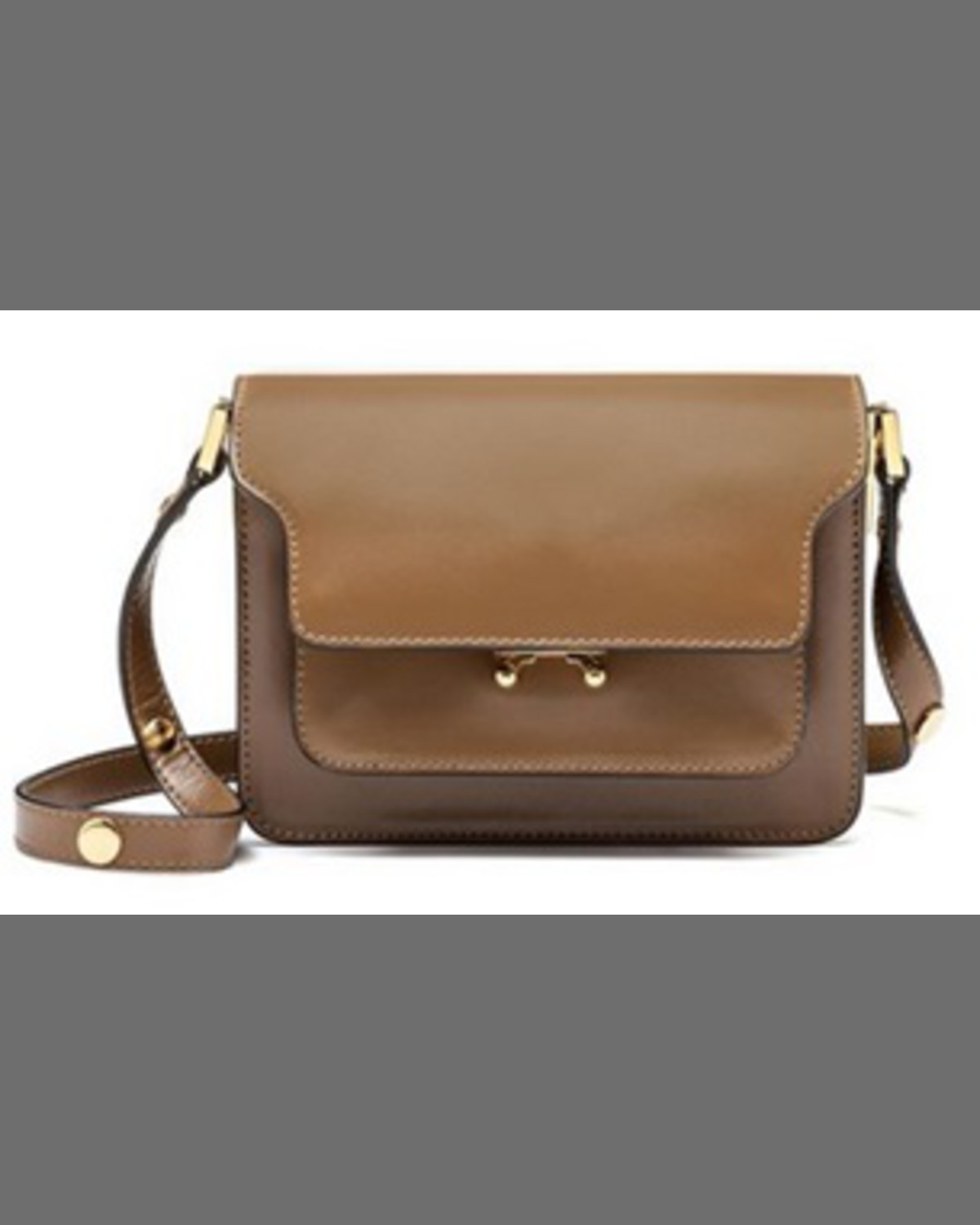 Trunk Small Leather Shoulder Bag Brown Blue