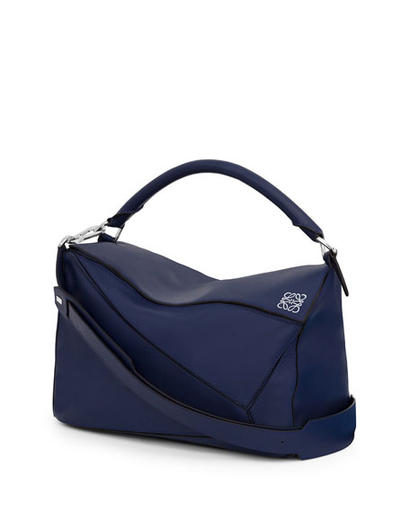 Puzzle Large Calf Leather Bag, Navy