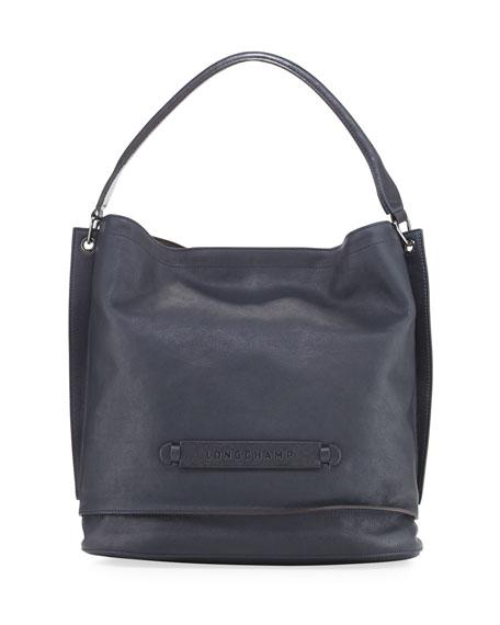 Longchamp 3D Leather Hobo Bag, Midnight Black
