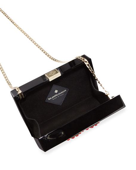 Grace Lolita Heart Clutch Bag, Black/Red
