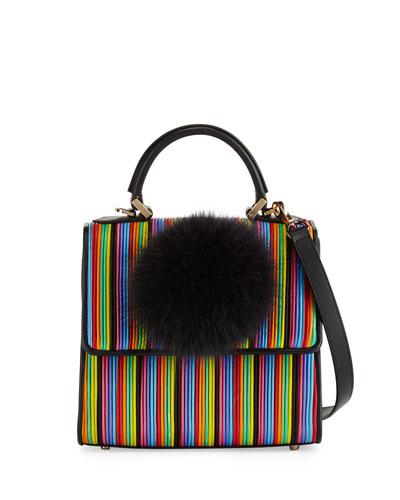 Alex Mini Bunny Striped Shoulder Bag, Black Multi
