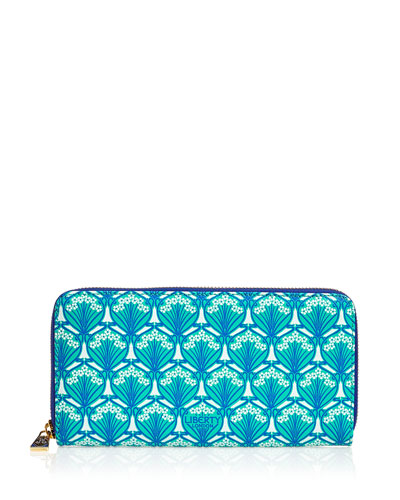 Large Iphis Printed Canvas Zip Wallet, Green