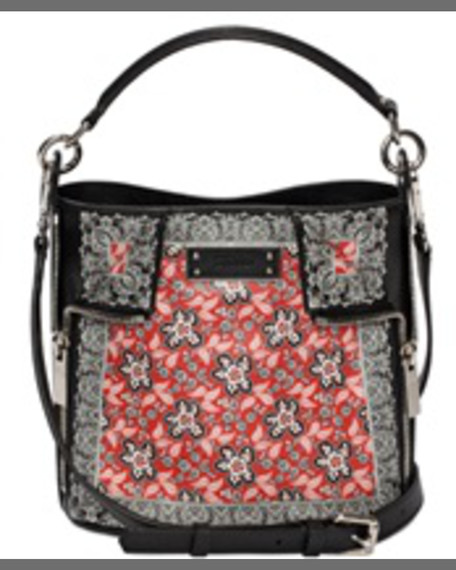 Alexander McQueen Bandana-Print Small Leather Bucket Bag, Scarlet
