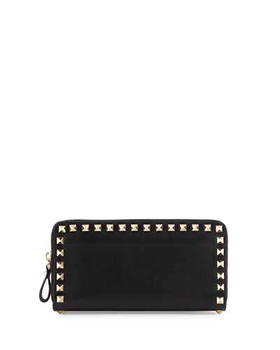 Rockstud Vitello Continental Zip Wallet, Light Ivory