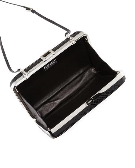 Snakeskin Box Clutch, Black (Nero)