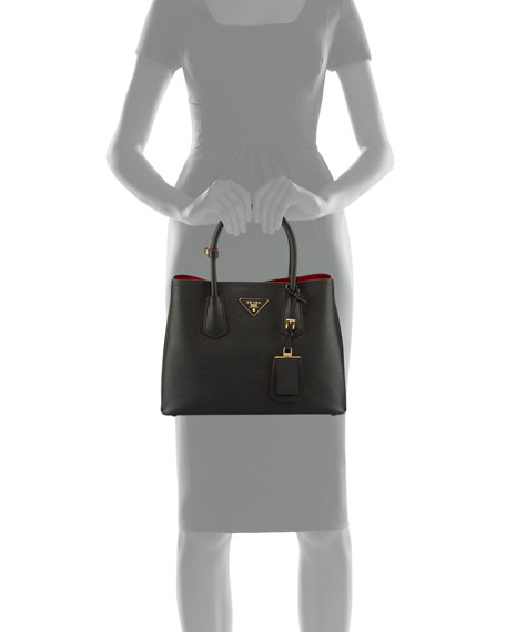 Saffiano Cuir Double Small Tote Bag