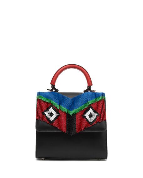 Mini Alex Fringe Satchel Bag, Black/White/Red