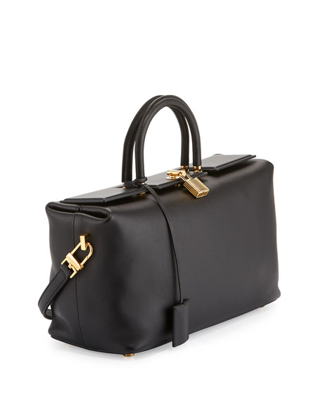 TOM FORD India Small Leather Tote Bag, Black