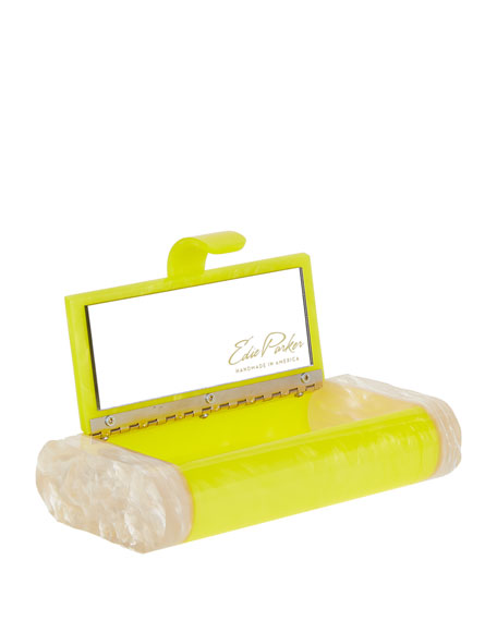 Lara Acrylic Clutch Bag, Acid Yellow/Nude